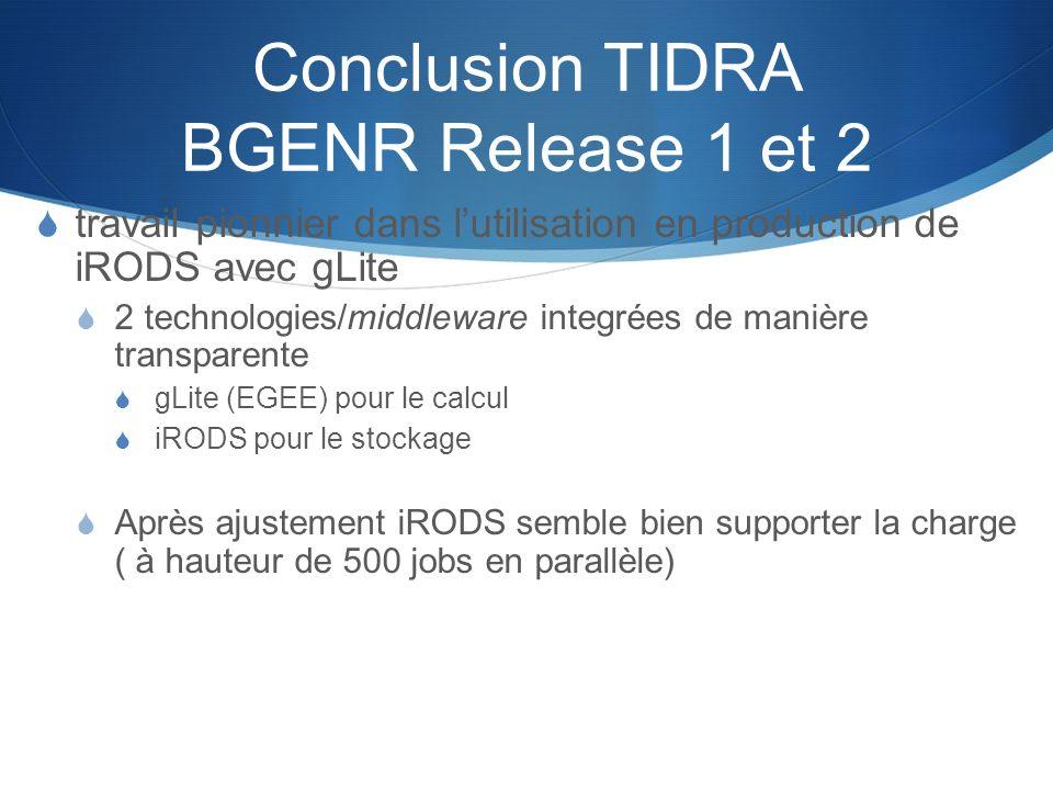 Conclusion TIDRA BGENR Release 1 et 2 travail pionnier dans lutilisation en production de iRODS avec gLite 2 technologies/middleware integrées de mani