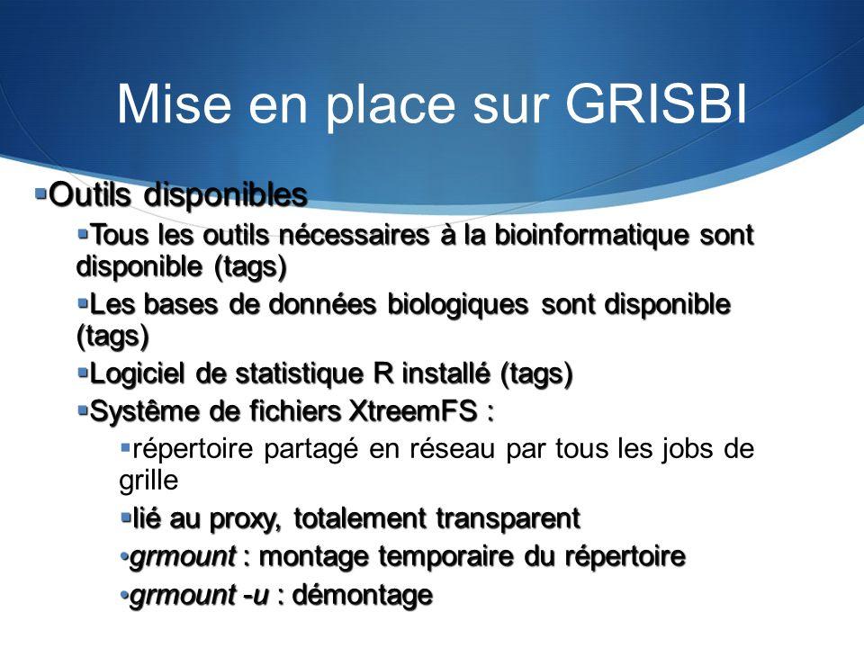 Mise en place sur GRISBI Outils disponibles Outils disponibles Tous les outils nécessaires à la bioinformatique sont disponible (tags) Tous les outils
