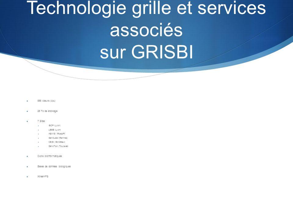 Technologie grille et services associés sur GRISBI 856 cœurs (cpu) 25 To de stockage 7 Sites IBCP (Lyon) LBBE (Lyon) ABiMS (Roscoff) GenOuest (Rennes)
