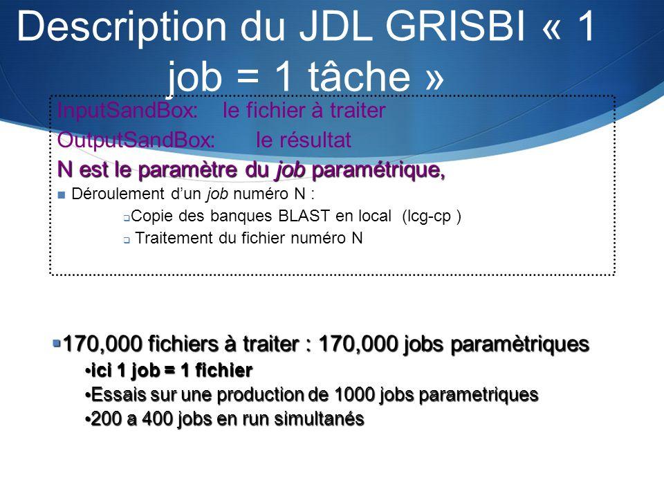 Description du JDL GRISBI « 1 job = 1 tâche » InputSandBox: le fichier à traiter OutputSandBox: le résultat N est le paramètre du job paramétrique, Dé