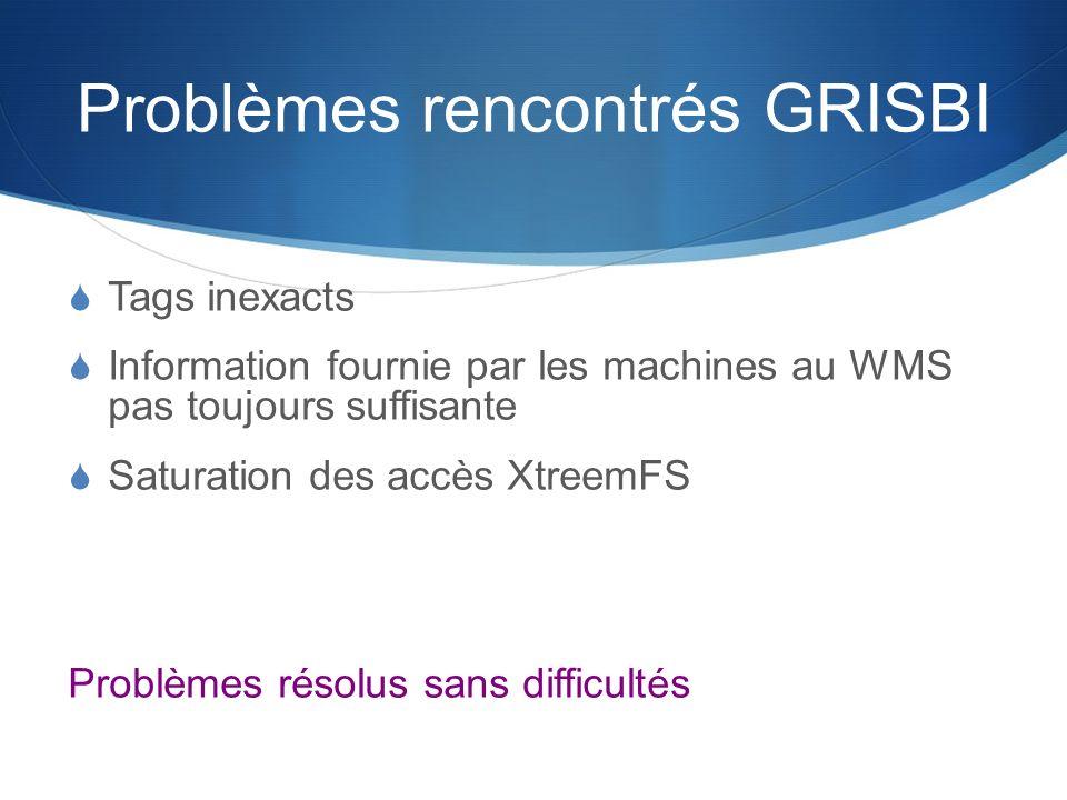Problèmes rencontrés GRISBI Tags inexacts Information fournie par les machines au WMS pas toujours suffisante Saturation des accès XtreemFS Problèmes