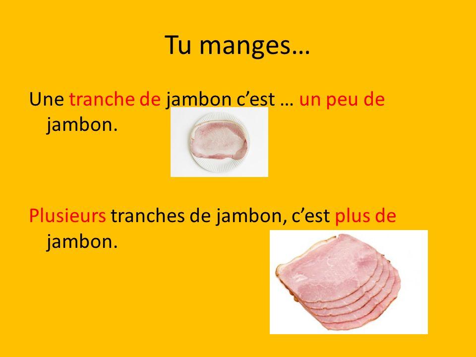 Tu manges… Une tranche de jambon cest … un peu de jambon. Plusieurs tranches de jambon, cest plus de jambon.