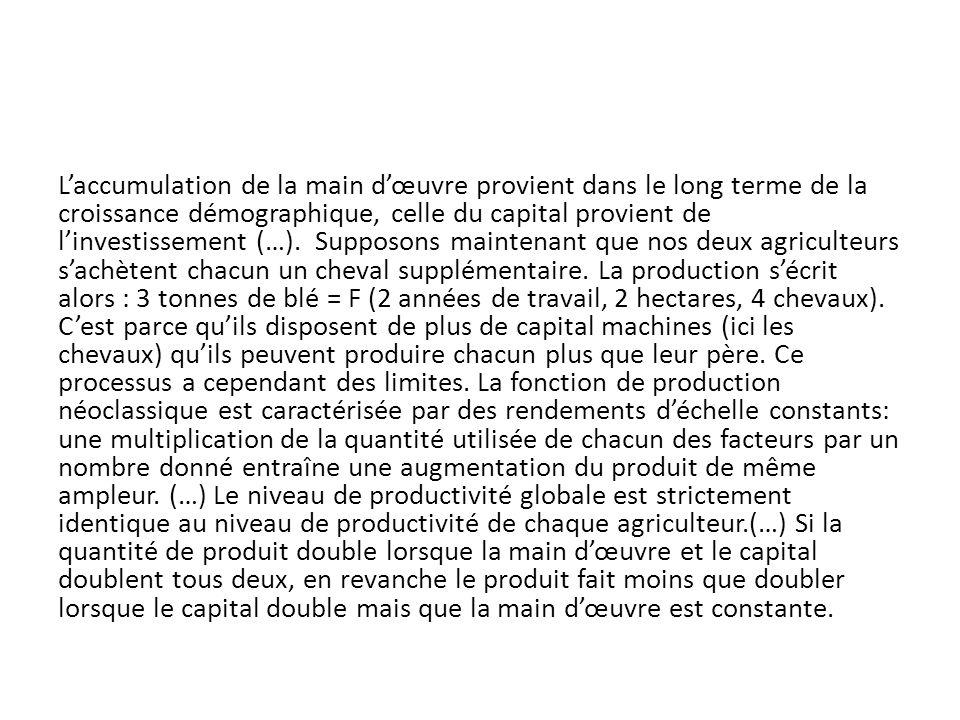 Laccumulation de la main dœuvre provient dans le long terme de la croissance démographique, celle du capital provient de linvestissement (…). Supposon