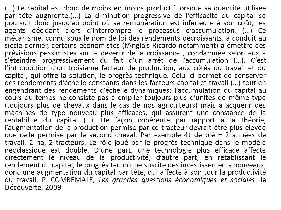 (…) Le capital est donc de moins en moins productif lorsque sa quantité utilisée par tête augmente.(…) La diminution progressive de lefficacité du cap