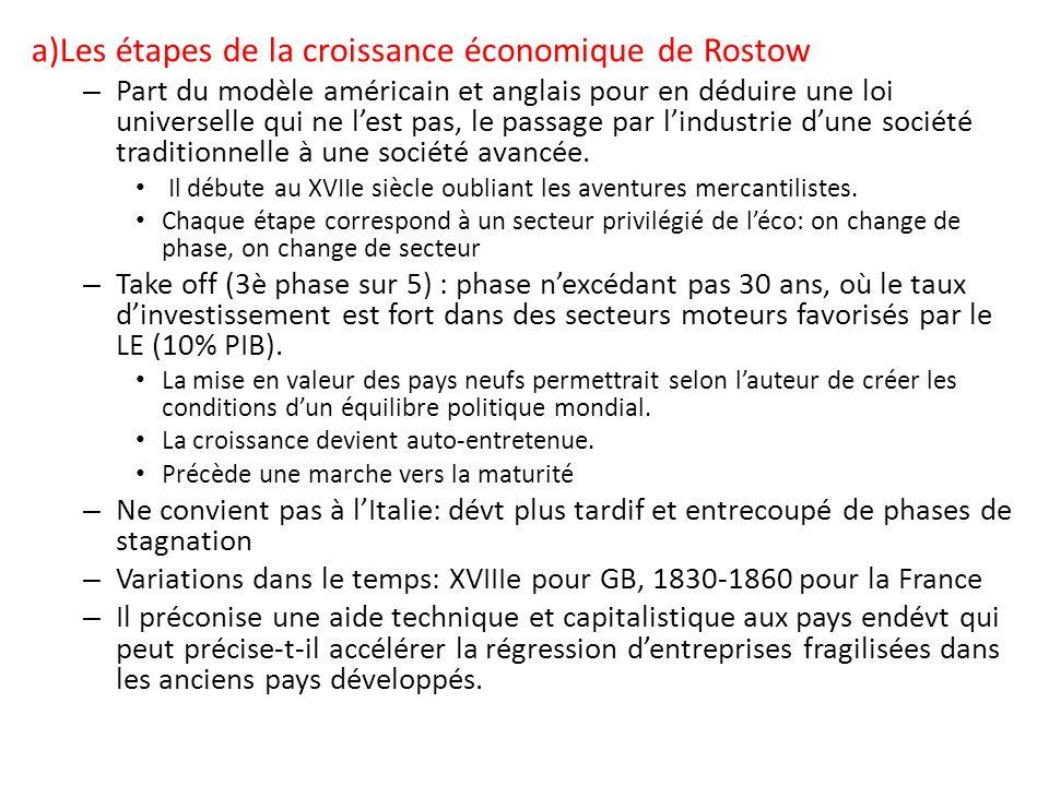 a)Les étapes de la croissance économique de Rostow – Part du modèle américain et anglais pour en déduire une loi universelle qui ne lest pas, le passa