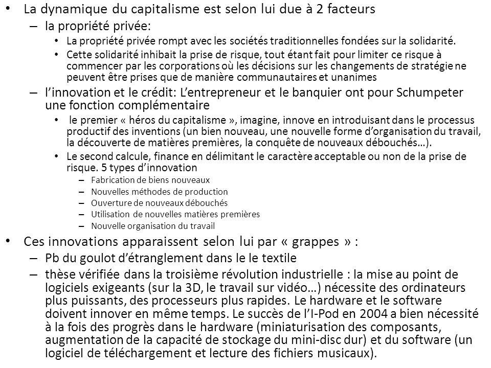 La dynamique du capitalisme est selon lui due à 2 facteurs – la propriété privée: La propriété privée rompt avec les sociétés traditionnelles fondées