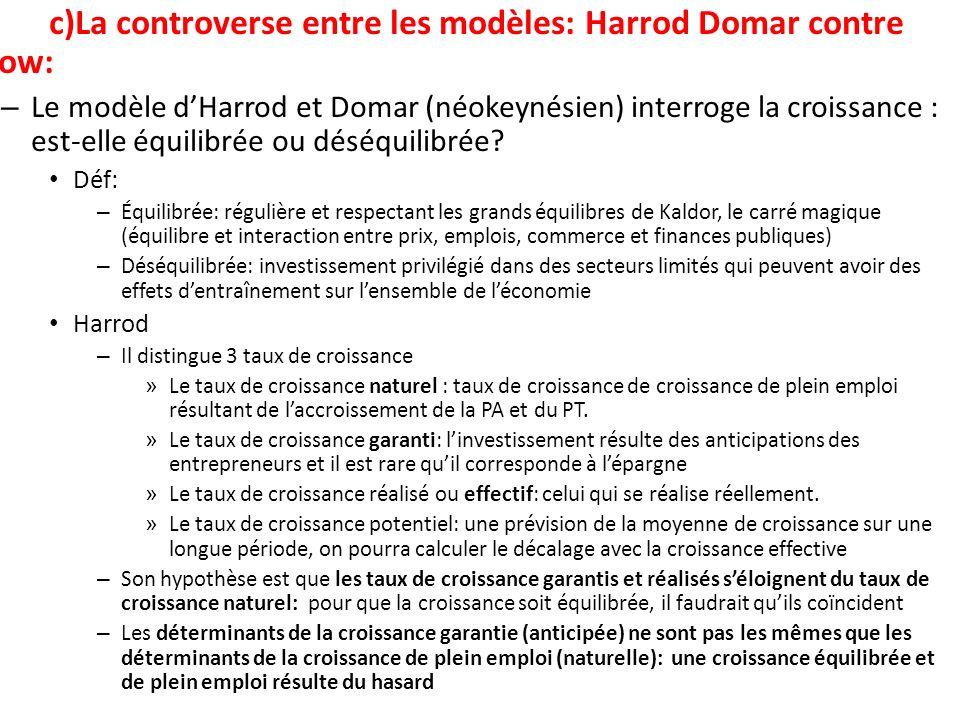 c)La controverse entre les modèles: Harrod Domar contre Solow: – Le modèle dHarrod et Domar (néokeynésien) interroge la croissance : est-elle équilibr