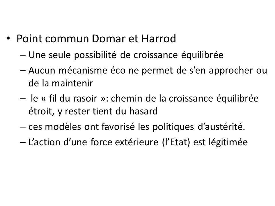 Point commun Domar et Harrod – Une seule possibilité de croissance équilibrée – Aucun mécanisme éco ne permet de sen approcher ou de la maintenir – le