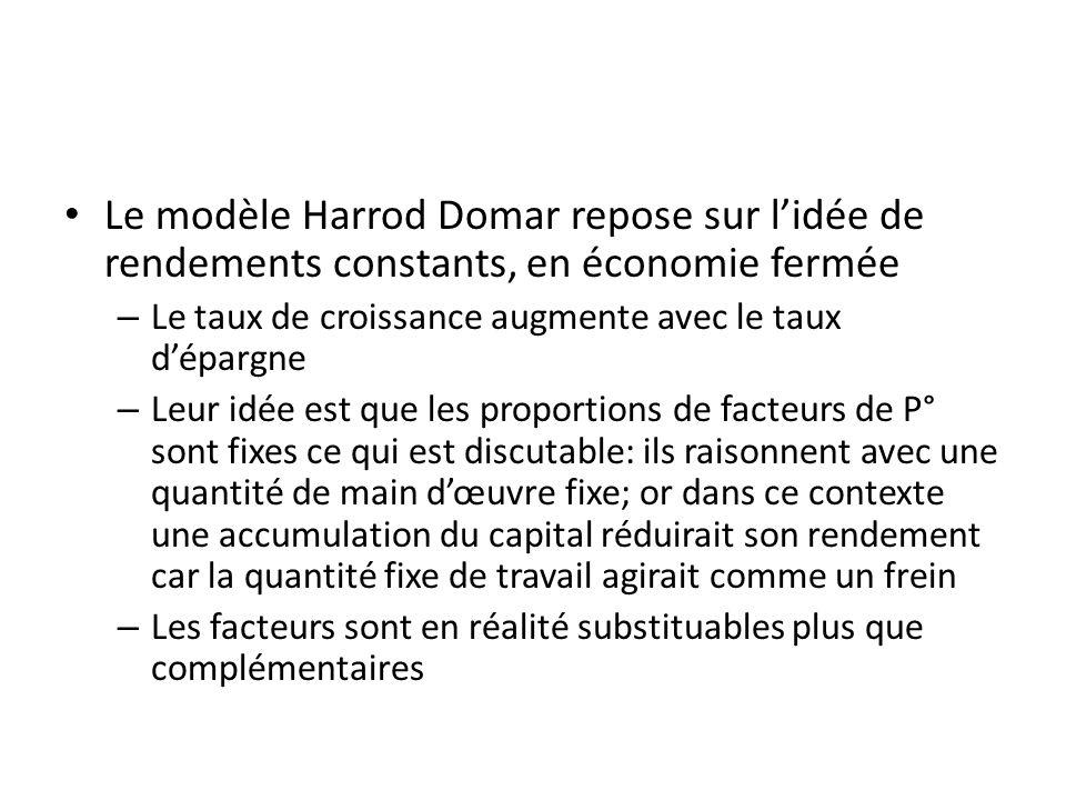 Le modèle Harrod Domar repose sur lidée de rendements constants, en économie fermée – Le taux de croissance augmente avec le taux dépargne – Leur idée