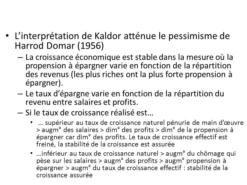 Linterprétation de Kaldor atténue le pessimisme de Harrod Domar (1956) – La croissance économique est stable dans la mesure où la propension à épargne