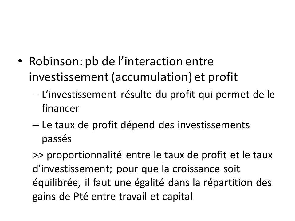 Robinson: pb de linteraction entre investissement (accumulation) et profit – Linvestissement résulte du profit qui permet de le financer – Le taux de