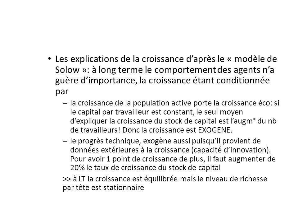 Les explications de la croissance daprès le « modèle de Solow »: à long terme le comportement des agents na guère dimportance, la croissance étant con