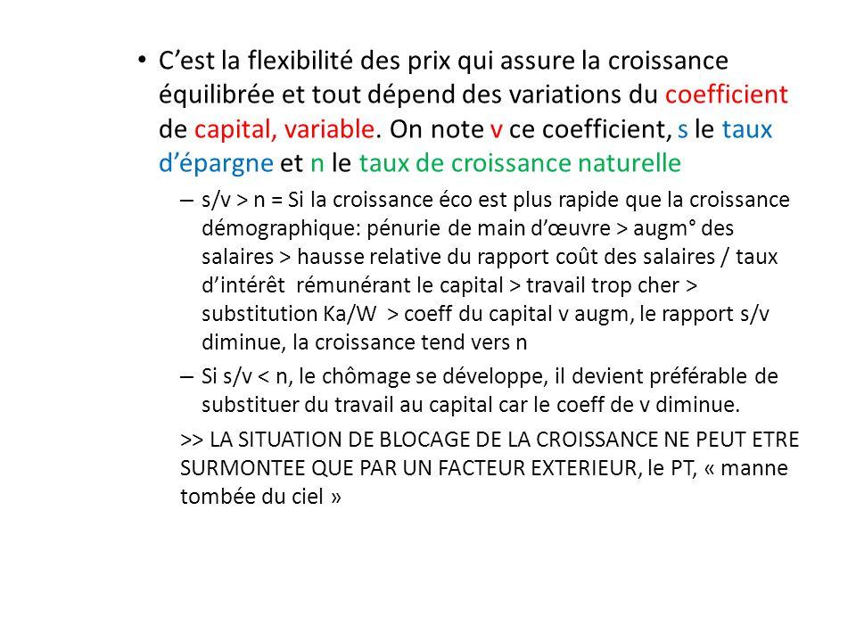 Cest la flexibilité des prix qui assure la croissance équilibrée et tout dépend des variations du coefficient de capital, variable. On note v ce coeff