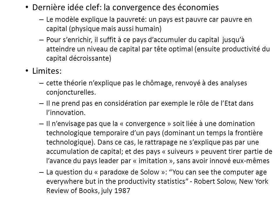 Dernière idée clef: la convergence des économies – Le modèle explique la pauvreté: un pays est pauvre car pauvre en capital (physique mais aussi humai