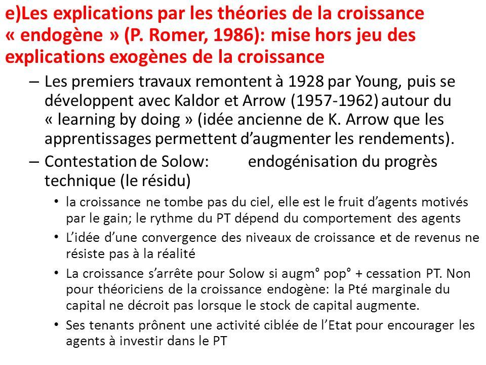 e)Les explications par les théories de la croissance « endogène » (P. Romer, 1986): mise hors jeu des explications exogènes de la croissance – Les pre