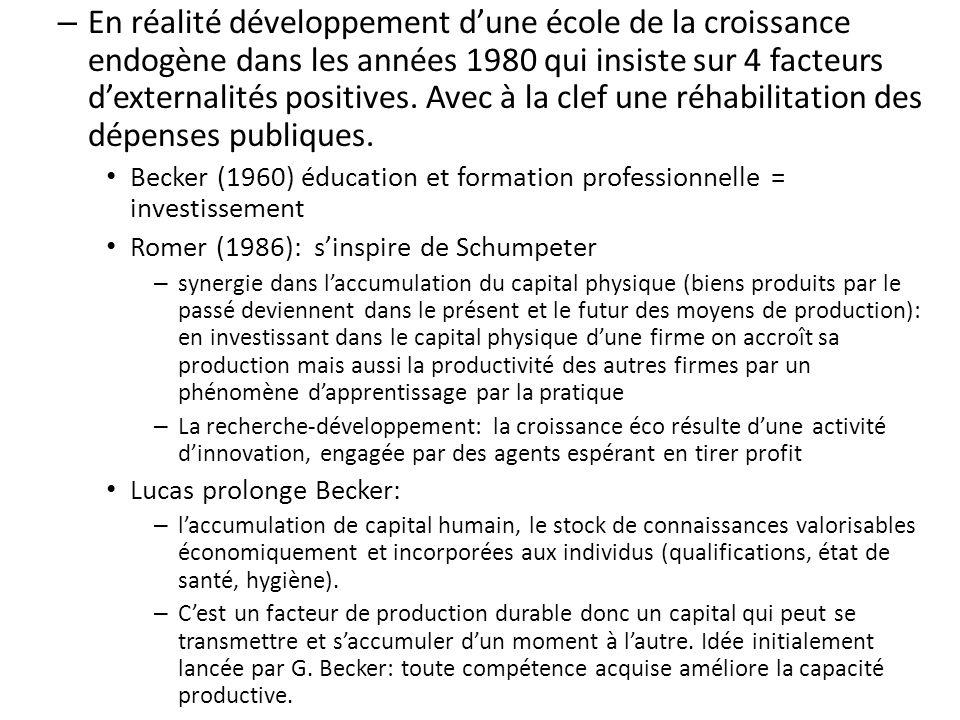 – En réalité développement dune école de la croissance endogène dans les années 1980 qui insiste sur 4 facteurs dexternalités positives. Avec à la cle