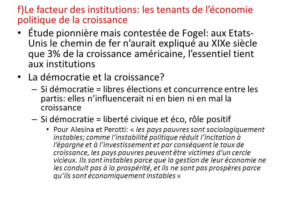 f)Le facteur des institutions: les tenants de léconomie politique de la croissance Étude pionnière mais contestée de Fogel: aux Etats- Unis le chemin