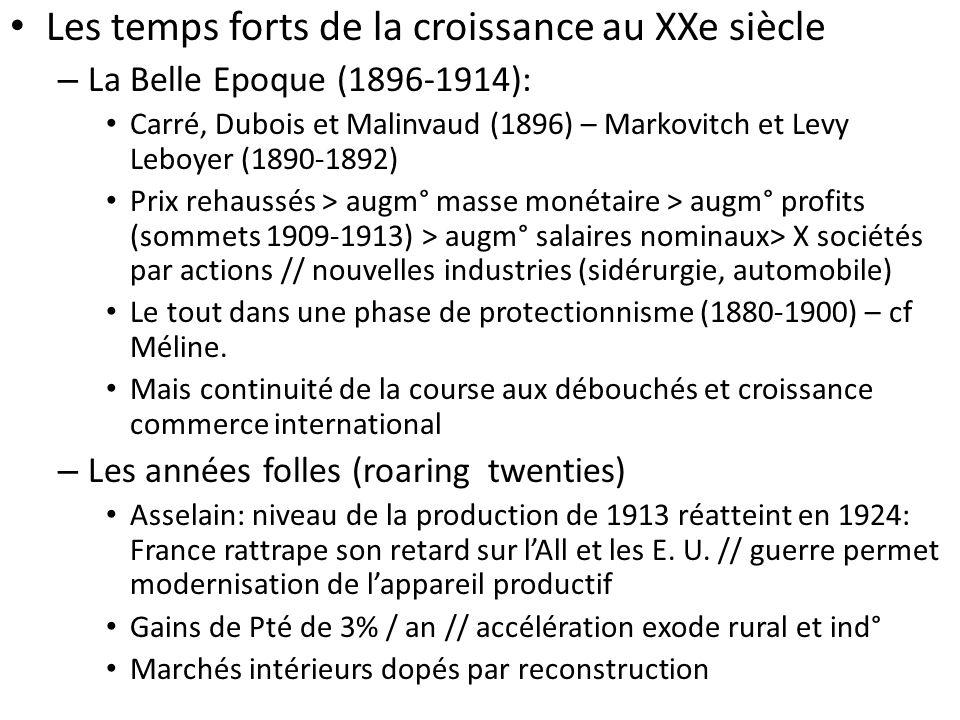 Les temps forts de la croissance au XXe siècle – La Belle Epoque (1896-1914): Carré, Dubois et Malinvaud (1896) – Markovitch et Levy Leboyer (1890-189