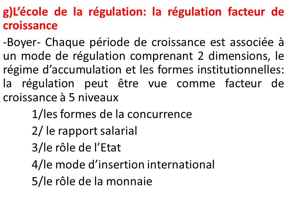 g)Lécole de la régulation: la régulation facteur de croissance -Boyer- Chaque période de croissance est associée à un mode de régulation comprenant 2