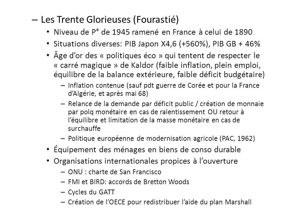 – Les Trente Glorieuses (Fourastié) Niveau de P° de 1945 ramené en France à celui de 1890 Situations diverses: PIB Japon X4,6 (+560%), PIB GB + 46% Âg
