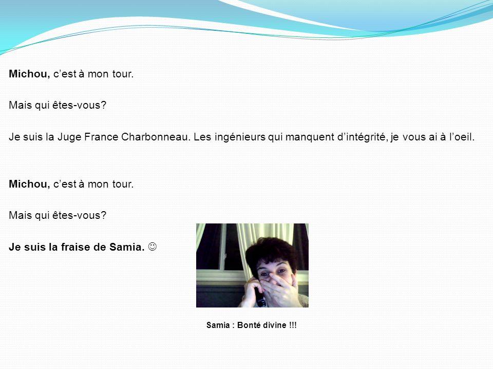 Michou, cest à mon tour.Mais qui êtes-vous. Je suis la Juge France Charbonneau.