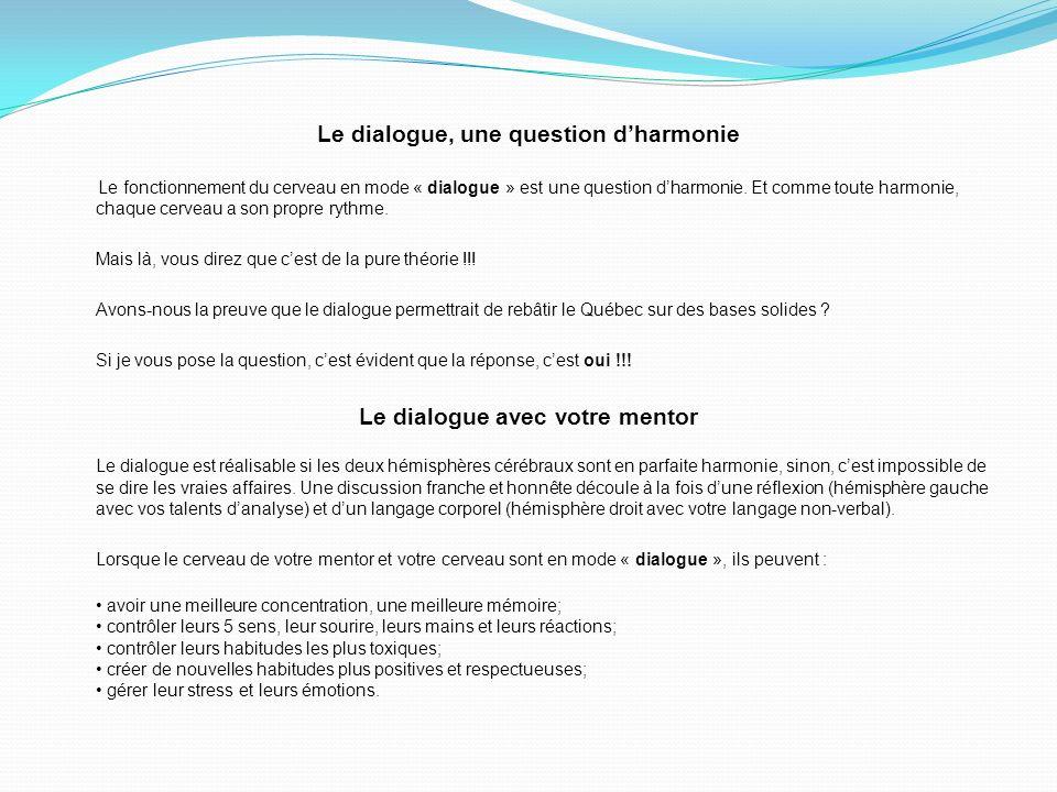 Le dialogue, une question dharmonie Le fonctionnement du cerveau en mode « dialogue » est une question dharmonie.