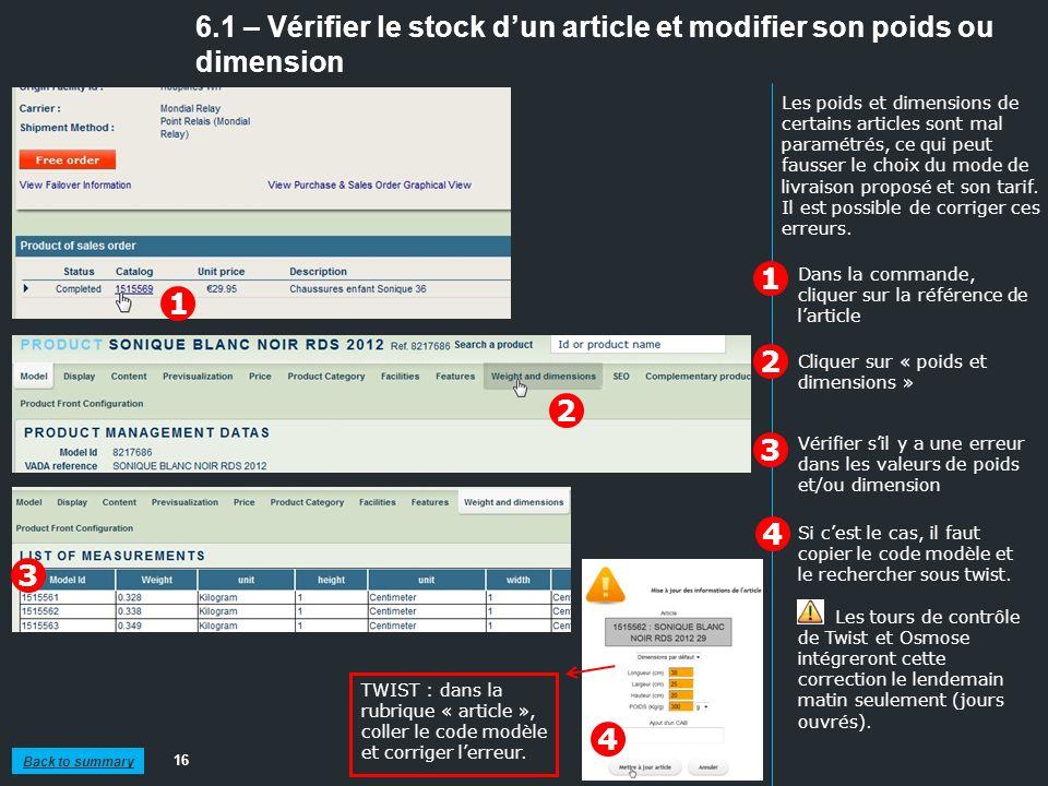 6.1 – Vérifier le stock dun article et modifier son poids ou dimension 16 1 2 Dans la commande, cliquer sur la référence de larticle TWIST : dans la r