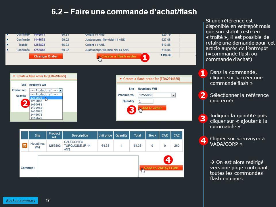 6.2 – Faire une commande dachat/flash 17 1 2 Dans la commande, cliquer sur « créer une commande flash » On est alors redirigé vers une page contenant