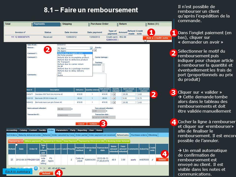 8.1 – Faire un remboursement 23 1 2 Sélectionner le motif du remboursement puis indiquer pour chaque article à rembourser la quantité et éventuellemen