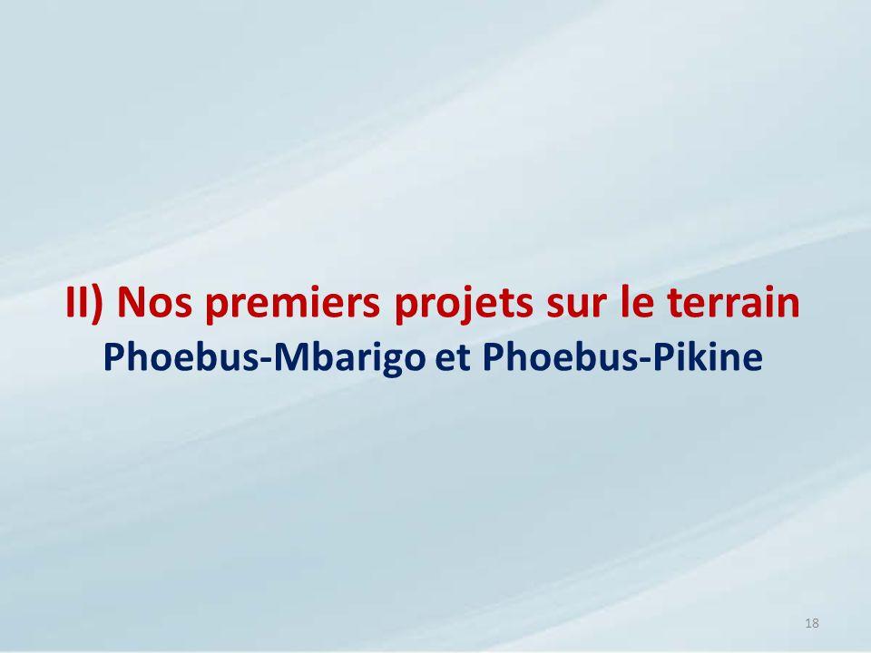 18 II) Nos premiers projets sur le terrain Phoebus-Mbarigo et Phoebus-Pikine