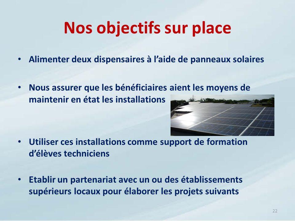 Nos objectifs sur place Alimenter deux dispensaires à laide de panneaux solaires Nous assurer que les bénéficiaires aient les moyens de maintenir en é
