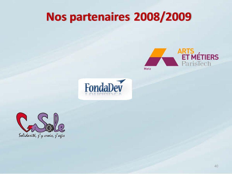 40 Nos partenaires 2008/2009Nos partenaires 2008/2009