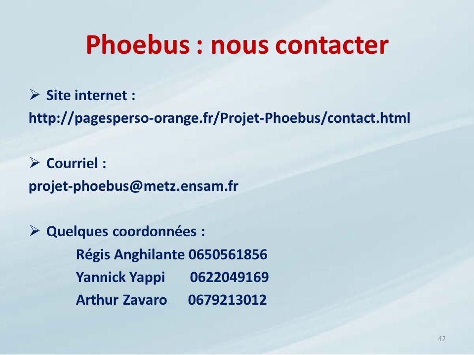 Site internet : http://pagesperso-orange.fr/Projet-Phoebus/contact.html Courriel : projet-phoebus@metz.ensam.fr Quelques coordonnées : Régis Anghilant