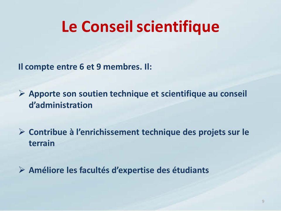 Le Conseil scientifique Il compte entre 6 et 9 membres. Il: Apporte son soutien technique et scientifique au conseil dadministration Contribue à lenri