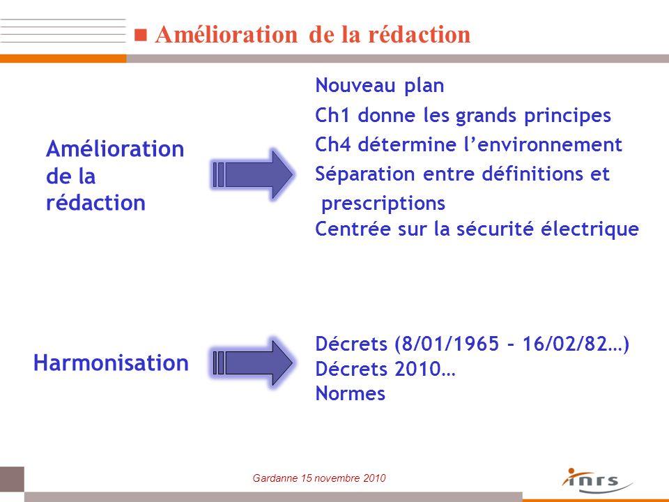 Gardanne 15 novembre 2010 Amélioration de la rédaction Nouveau plan Ch1 donne les grands principes Ch4 détermine lenvironnement Séparation entre défin
