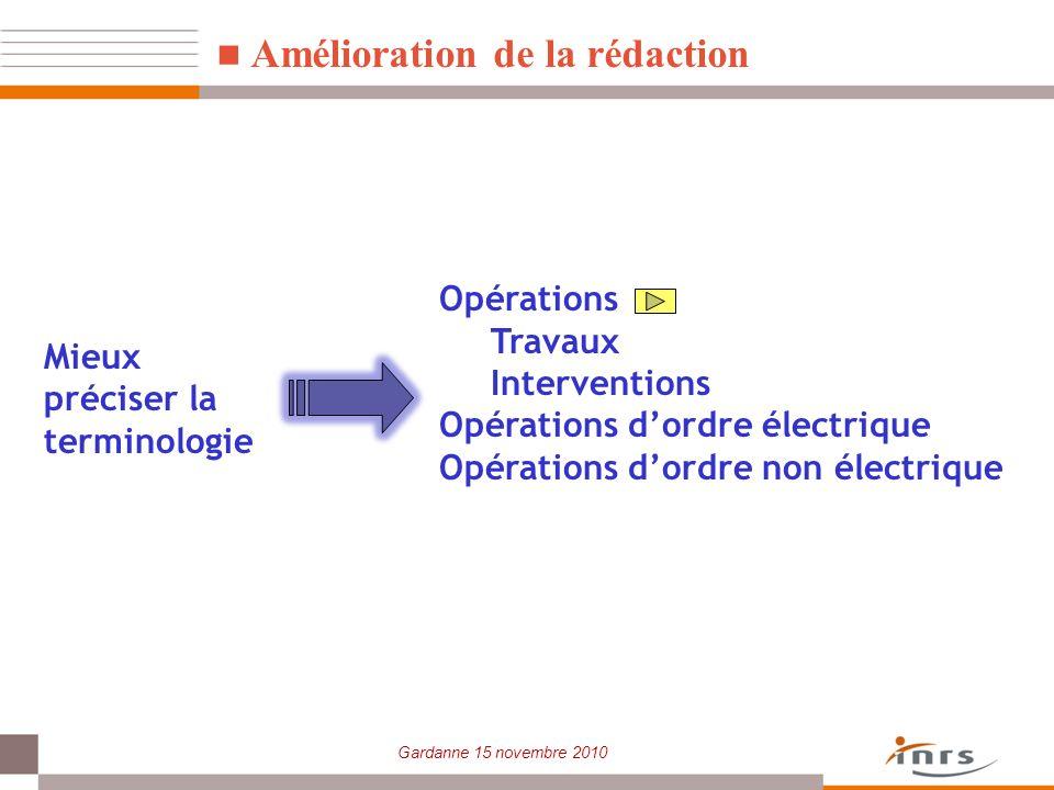 Gardanne 15 novembre 2010 Amélioration de la rédaction Opérations Travaux Interventions Opérations dordre électrique Opérations dordre non électrique