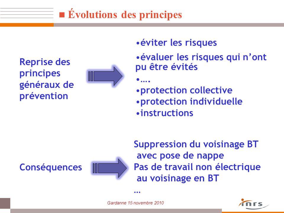 Gardanne 15 novembre 2010 Évolutions des principes éviter les risques évaluer les risques qui nont pu être évités …. protection collective protection
