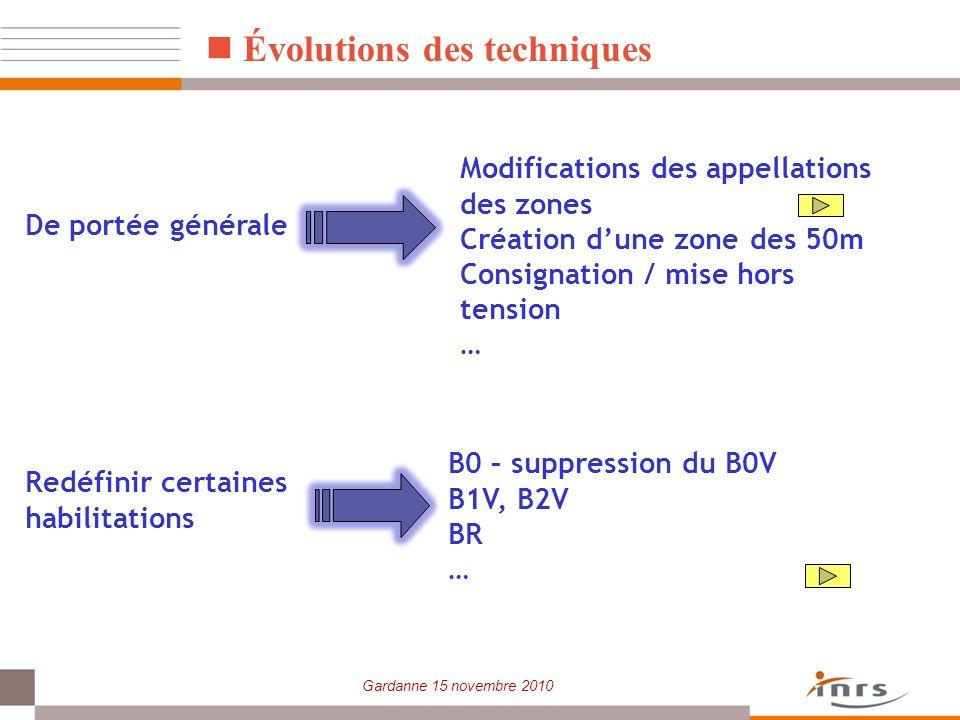 Gardanne 15 novembre 2010 Évolutions des techniques Modifications des appellations des zones Création dune zone des 50m Consignation / mise hors tensi