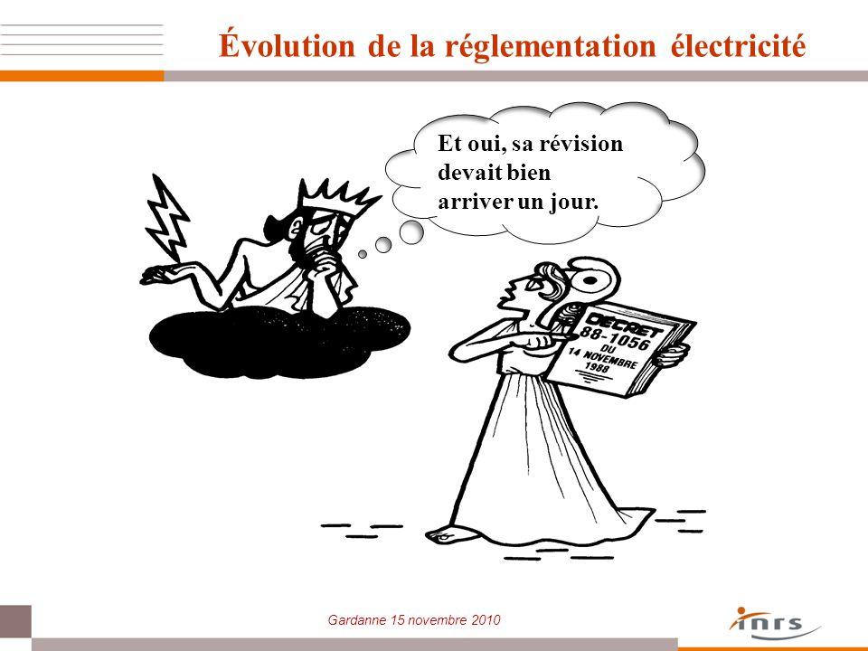 Gardanne 15 novembre 2010 Évolution de la réglementation électricité Et oui, sa révision devait bien arriver un jour.