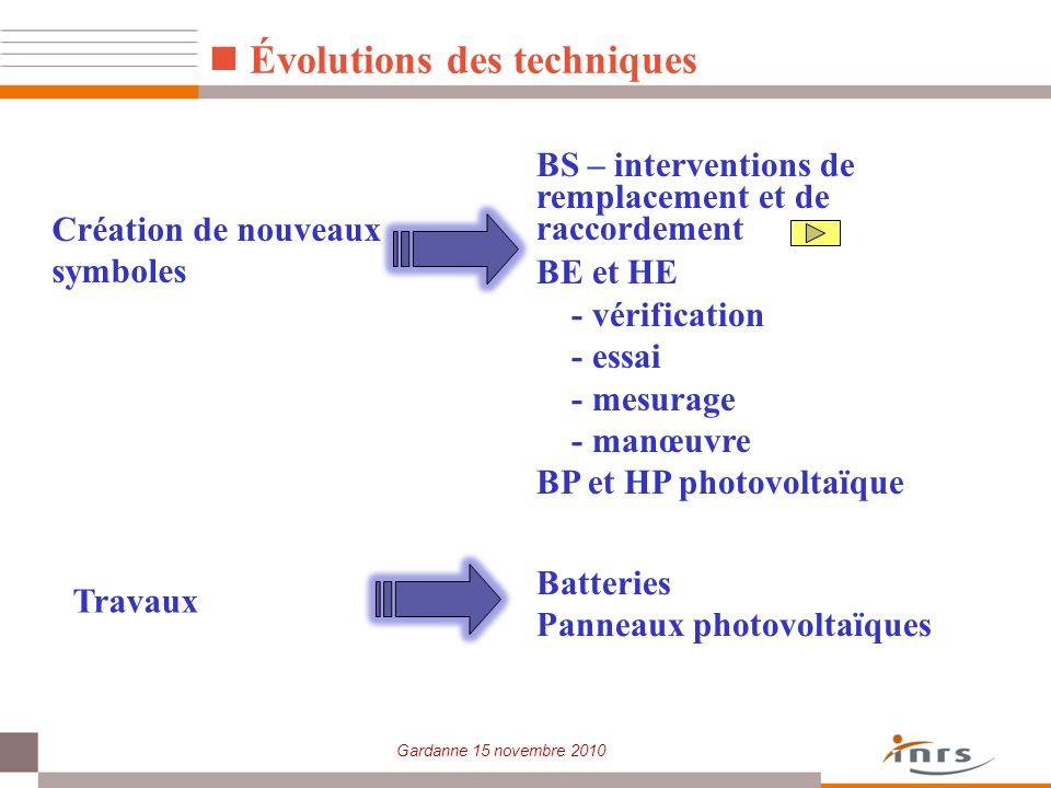 Gardanne 15 novembre 2010 Évolutions des techniques BS – interventions de remplacement et de raccordement BE et HE - vérification - essai - mesurage -