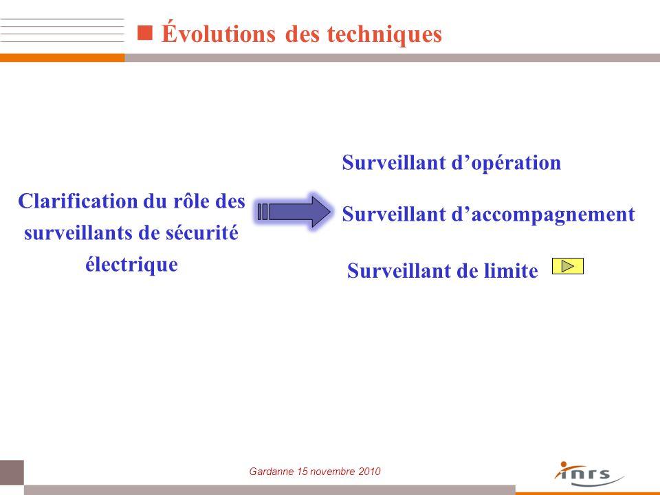 Gardanne 15 novembre 2010 Évolutions des techniques Clarification du rôle des surveillants de sécurité électrique Surveillant dopération Surveillant d