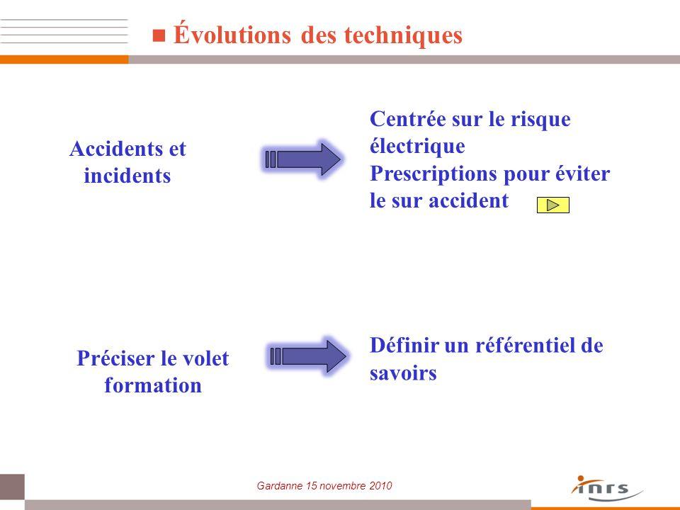 Gardanne 15 novembre 2010 Évolutions des techniques Accidents et incidents Centrée sur le risque électrique Prescriptions pour éviter le sur accident