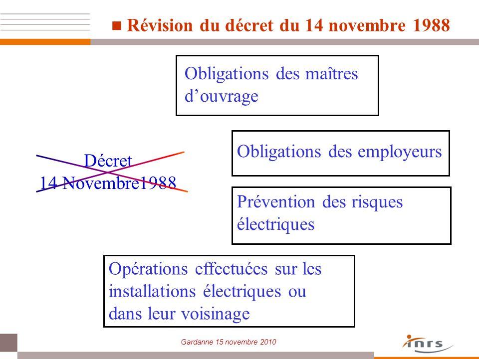 Gardanne 15 novembre 2010 Révision du décret du 14 novembre 1988 Décret 14 Novembre1988 Obligations des maîtres douvrage Obligations des employeurs Op