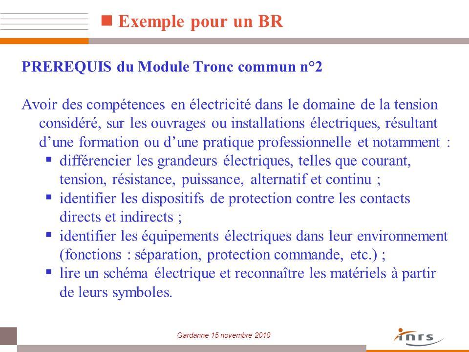 Gardanne 15 novembre 2010 Exemple pour un BR PREREQUIS du Module Tronc commun n°2 Avoir des compétences en électricité dans le domaine de la tension c