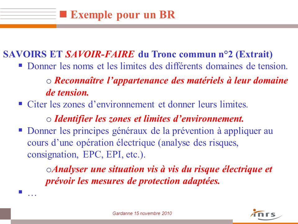 Gardanne 15 novembre 2010 Exemple pour un BR SAVOIRS ET SAVOIR-FAIRE du Tronc commun n°2 (Extrait) Donner les noms et les limites des différents domai