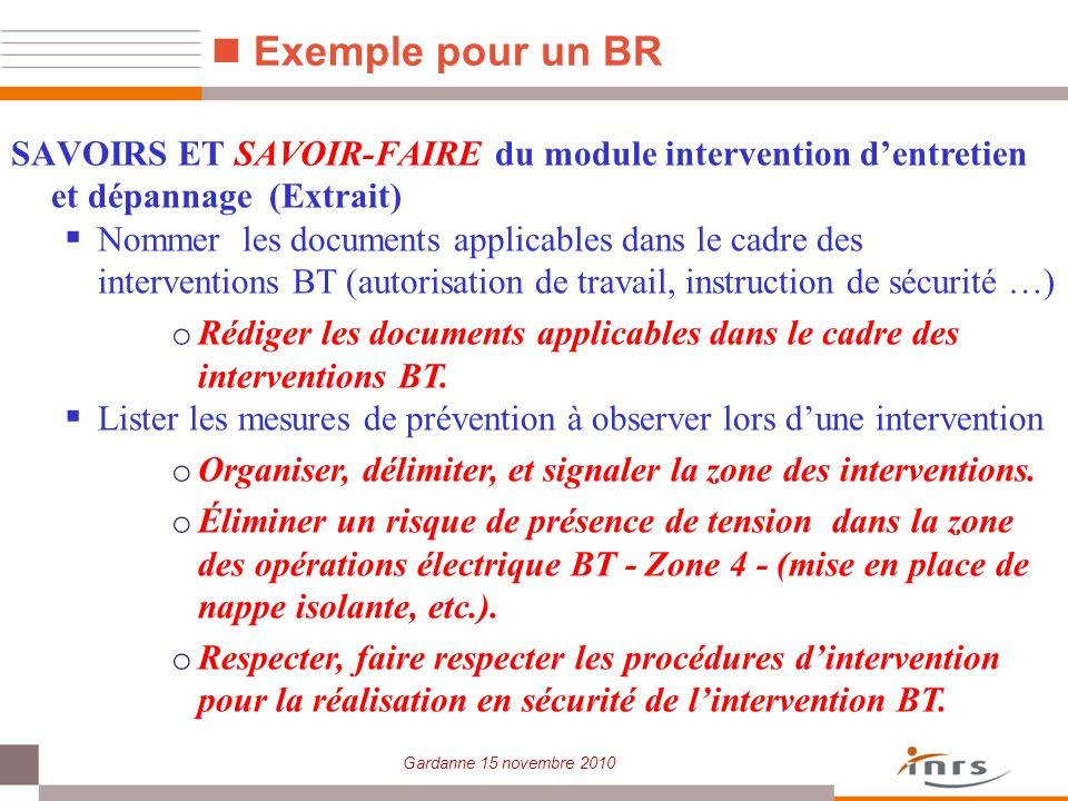 Gardanne 15 novembre 2010 Exemple pour un BR SAVOIRS ET SAVOIR-FAIRE du module intervention dentretien et dépannage (Extrait) Nommer les documents app