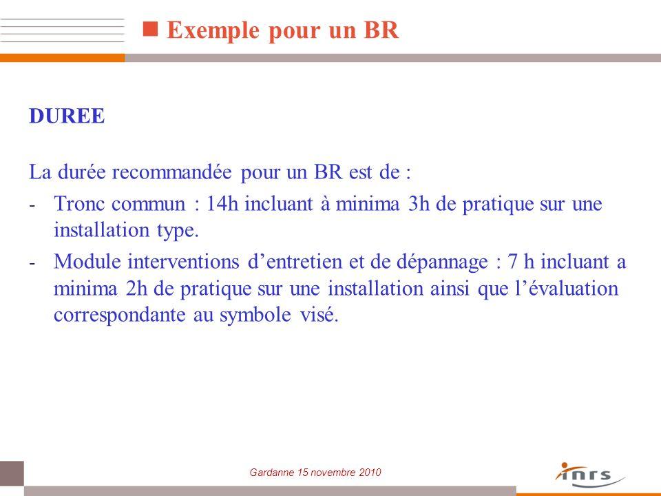 Gardanne 15 novembre 2010 Exemple pour un BR DUREE La durée recommandée pour un BR est de : - Tronc commun : 14h incluant à minima 3h de pratique sur