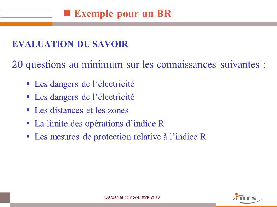 Gardanne 15 novembre 2010 Exemple pour un BR EVALUATION DU SAVOIR 20 questions au minimum sur les connaissances suivantes : Les dangers de lélectricit