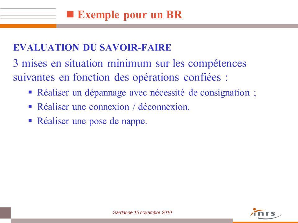 Gardanne 15 novembre 2010 Exemple pour un BR EVALUATION DU SAVOIR-FAIRE 3 mises en situation minimum sur les compétences suivantes en fonction des opé