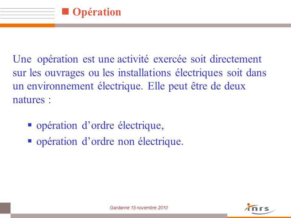 Une opération est une activité exercée soit directement sur les ouvrages ou les installations électriques soit dans un environnement électrique. Elle